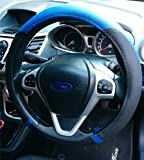 NEW DRIVERS STEERING WHEEL COVER BLUE / BLACK FITTED GLOVE EASY SLIP ON