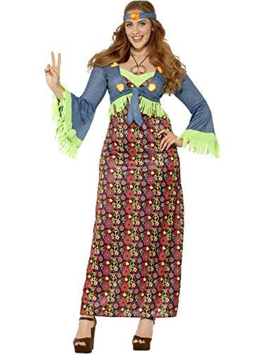 Fancy Ole - Damen Frauen Frauen Curvy Hippie Woddstock Braut Kostüm mit Flower Power Kleid, befestigter Weste und Stirnband, perfekt für Karneval, Fasching und Fastnacht, 3XL, Braun