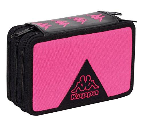 Astuccio 3 zip kappa logo - attrezzato con penne, matite, pennarelli rosa nero