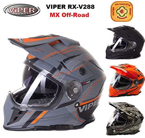Motocross Helme Viper V288 Motorrad integralhelm Doppelvisier MX Quad Enduro Off-Road Sporthelm, Mehrere Farben (Matt Ventura,XL) -