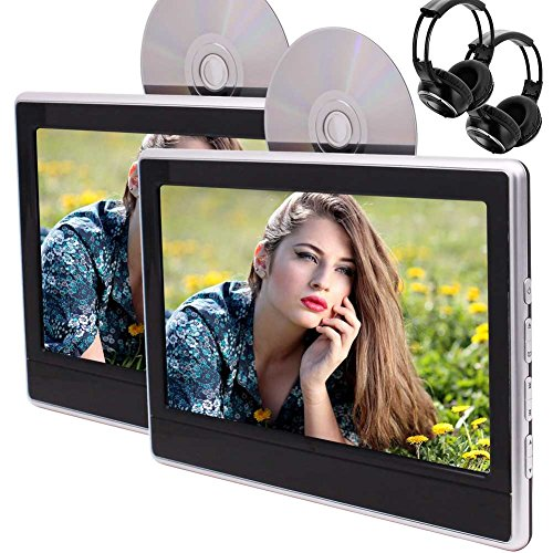 DVD portable double ¨¦cran avec lecteur de 11,6 pouces LED 1366 * 768 Support ¨¦cran tactile HDMI USB SD FM IR AV In / sortie haut-parleur int¨¦gr¨¦ 32Bits Jeux + 2 PCS Casque