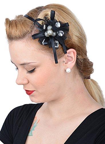 Unbekannt Edles Pin Up Burlesque BOW Headpiece HAARREIF - Schwarz Rockabilly FDH4006 - Burlesque Pin Up