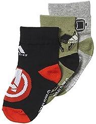 adidas Marvel AV 3PP - Calcetines para niño, color negro / rojo / gris, talla U