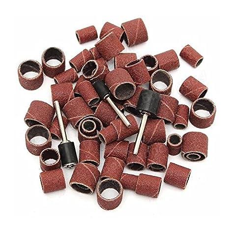 63pcs 80Grit Drum Sanding Kit 1/2 3/8 1/4 Inch Sand Mandrels Fit Dremel Nail Drill Rotary Tools