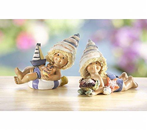 2 Deko Figuren'Strand-Mädchen' mit Muschelhut, Boot und Schildkröte