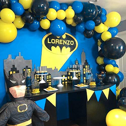 """PuTwo Batman Cumpleaños 80 pzas Paquete de Globos de 12"""" Globos Amarillos Globos Negros Globos Azul Real, Globos de Fiesta para Decoracion Cumpleaños Batman, Pokemon Cumpleaños, Minions Cumpleaños"""