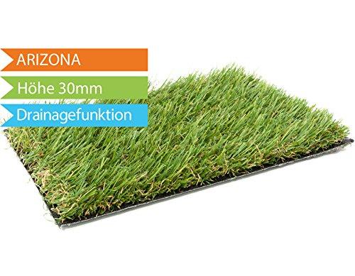 Kunstrasen Arizona - Muster   hochwertige Echtrasenoptik   Florhöhe 26 mm   Gewicht 2.000g/m²   UV-Sicher   mit Drainagefunktion und Wasserdurchlässig 60 Liter/Min/m²   Kunststoffrasen   Rollrasen