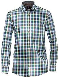 CASA MODA Premium Baumwolle Kentkragen bequeme Passform LS kariertes Hemd blau Größen XXL bis 5XL - Blau/Grün, 4XL (Collar 20/Chest 65 Inches)
