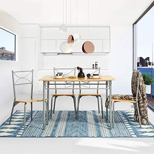 Yata Home Küchenset, 1 Tisch und 4 Stühle, Esszimmer, Esszimmer, aus Metall, modern, Küche, Tisch, Stühle, für Küchenmöbel, 4 Personen -