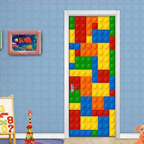 Handel Sammlung Ziehen (ZAOWEN 3D Wandbild Tapete Kinderzimmer Lego Ziegel Kinderzimmer Schlafzimmer Dekoration Selbstklebende Tür AufkleberWandbild Wasserdicht)