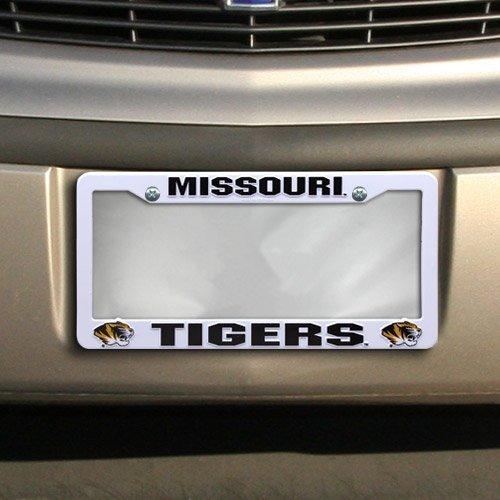 NCAA Missouri Tigers Kunststoff License Plate Frame–White by Fußball Fanatics