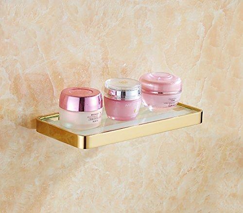 XINGUANG Badezimmerregal Badezimmer-Regal-europäisches Art-Glas-Regal Monolayer Gold-kosmetischer vorderer Spiegel-vorderes Regal Badezimmer-Spiegel-Regal-Wand-Halterung (Color : Gold)