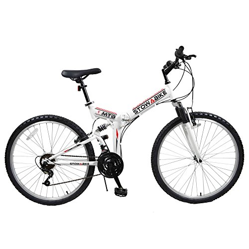 "512BqUS%2B32L. SS500  - Stowabike 26"" MTB V2 Folding Dual Suspension 18sp Gears Mountain Bike White"
