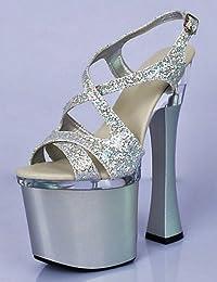 XiaoGao 18 cm super - high - heels, coole schuhe, floral glitzert und pantoffeln,pink
