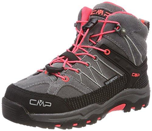 CMP Rigel Mid Wp Unisex-Kinder Trekking-& Wanderschuhe, Grau (Grey-Red Fluo), 34 EU
