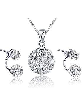 Gilind 925 Sterlingsilber -Disco-Kugel Halskette und Ohrringe Set für Damen + Geschenkbox