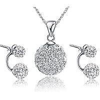 Gilind argento 925 Discoteca palla collana e orecchini set per le donne + Pacco regalo - Set Orecchini