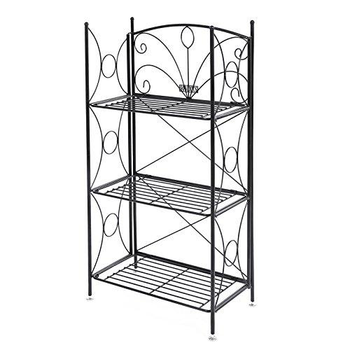 Songmics portafiori 3 ripiani decorativa in ferro verniciato fioriere per balcone giardino gfs102b