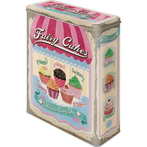 Fairy Cakes Cup Cakes Blechdose / Vorratsdose XL 8x19x26 cm super tolle Dose in Retro Nostalgie Design Muffin-top-dosen