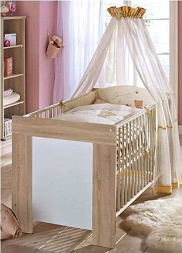 Dreams4Home Babybett 'Ruby', Kinderbett Gitterbett Juniorbett Babyzimmer Kinderzimmer, Sonoma Eiche sägerau weiß matt, Ausführung:mit runden Sprossen -