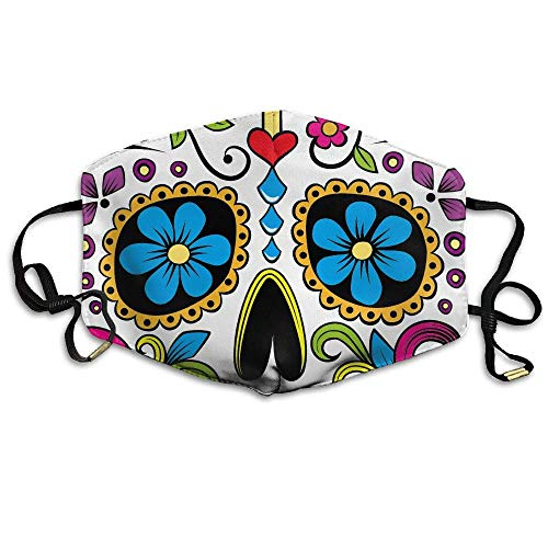 HUSDFS Mouth Maske Halloween Sugar Skull Unisex Face Mask Ear-loop Mouth Muffle Cycling Reusable Mask (Sugar Skull Halloween-maske)