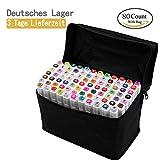 80 Farbige Graffiti Stift Fettige Mark Farben Marker Set,Twin Tip Textmarker Graffiti Pens für Sketch Marker Stifte Set Mit (weißen)