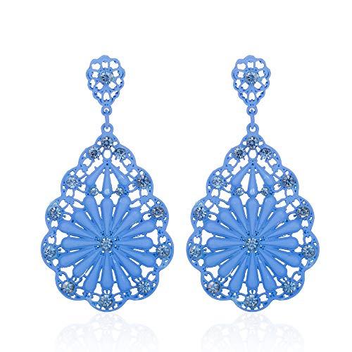 Floweworld Frauen baumeln Ohrringe Lange Retro High Black Water Drop hohlen durchbohrten Diamant Ohrringe Schmuck