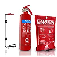 Premium FSS UK 1 KG ABC Dry Powder BSI KITEMARKED FIRE Extinguisher with CE Marked FIRE Blanket. Ideal for Homes Boats Kitchen Workplace Offices Cars Vans Warehouses GARAGES Hotels Restaurants 14