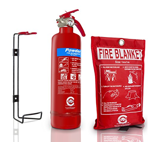 Premium FSS UK 1 KG ABC Dry Powder BSI KITEMARKED FIRE Extinguisher with CE Marked FIRE Blanket. Ideal for Homes Boats Kitchen Workplace Offices Cars Vans Warehouses GARAGES Hotels Restaurants 1