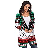 Christmas Elf Womens Cardigan Sweater Jumper Largo De Navidad Chaqueta De Manga Larga De Punto Fino Ladies Winter Sweater Tops Calientes,White,M