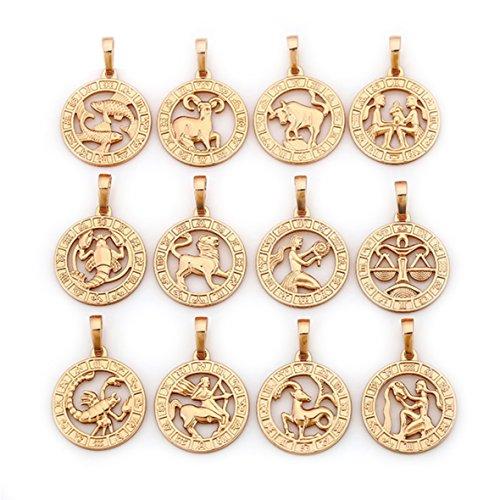 elegante Sternzeichen Kette Gold 18K echt vergoldet Luxus Schmuck Callissi Kette ca. 45 cm (Waage)