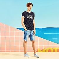 MN Camiseta de Manga Corta de Verano para Hombres Camiseta de Manga Larga de Cuello Redondo Estampado para Estudiantes,Azul Oscuro,XL