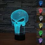 FLYMEI 3D Schädel optische LED Lampen,7 Farben blinkende Kunst Skulptur Lichter,Atmosphere Lamp with USB Cable
