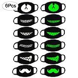 ABREOME 6pcs Mundmaske Emoticon Anti-Mundschutz Maske,Unisex Baumwollmaske Mundmaske Schwarz/Staub Masken/Mundschutz Maske