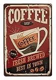 """Tin Sign Metallschild """"Coffee Shop Hot Coffee"""", gestanzt, Retro/Vintage, ideal für Bars, Büros, Schlafzimmer, Essz"""