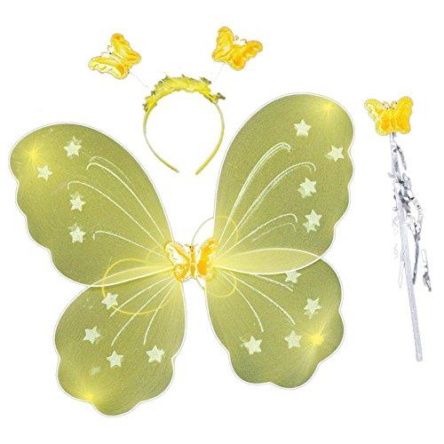 EFINNY Mädchen Feeprinzessin Schmetterlingsflügel Stab Stirnband 3 pc Spiel Kostüm Halloween-Partei Rolle 4038cm gesetzt Eine Größe Gelb