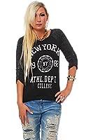 10257 Fashion4Young Damen Langarm-Pullover mit Pulli Shirt verfügbar in 5 Farben Gr. 36 38