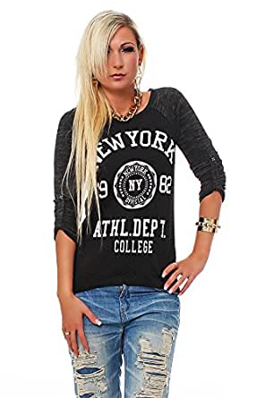10257 Fashion4Young Damen Langarm-Pullover mit Pulli Shirt verfügbar in 5 Farben Gr. 36 38 (36/38, Schwarz Grau)