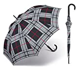 happy rain selection Regenschirm Stockschirm Long AC Kinematic mit Automatik karo checks black / schwarz