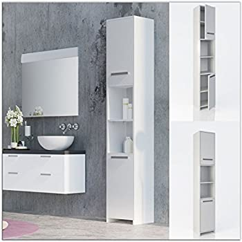 White Bathroom Cabinet Tall Unit Free Standing Storage Shelves Bath ...