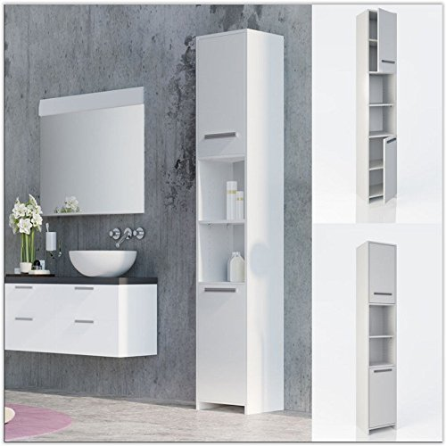White Bathroom Cabinet Tall Unit Free Standing Storage Shelves Bath Furniture UK