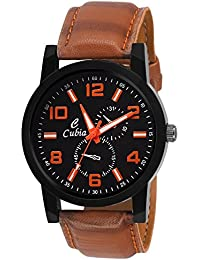 Cubia Brown Leather Analog Watch For Boys & Mens