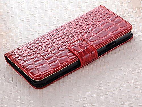 LaoZan iPhone Brieftasche, PU-Leder Krokodilkorn Klappbares Flip Tasche Mit Verschluss - Handyhülle Rot