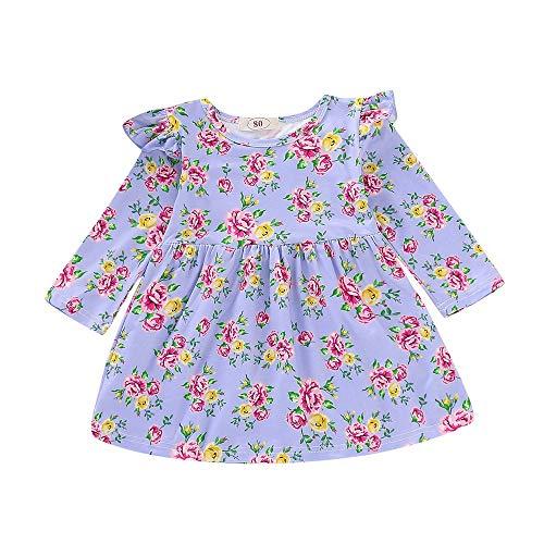 (IZHH Kinder Mädchen Kleidung Kleider,Kinder Kostüm Kleinkind Baby Kinder Langarm Blumendruck Rüschen Prinzessin Kleid Geraffte Kleidung Ostergeschenk Festliche Kleider 12M-4Y(Lila,100))
