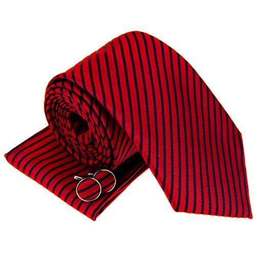 Moderno Stripe Woven cravatta da uomo W/Tasca quadrato e gemelli set regalo Red with Navy Blue Stripe Taglia unica