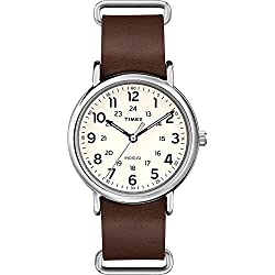 Timex Unisex T2P495 Quartz Watch with Yellow Dial Analogue Display and Brown Leather Strap
