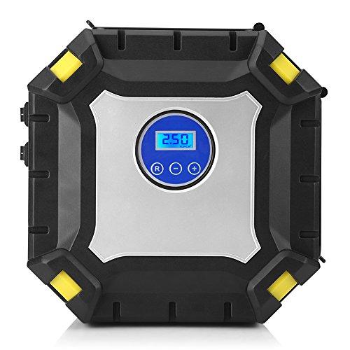 Keenso 12V 100PSI tragbarer Auto Luftkompressor Pumpen Reifen Luftpumpe 9 LED Anzeige Digital-Selbstreparatur-Reifen-Luftpumpe mit Lehre, elektrischer Selbstluftfüller für Auto, Fahrrad, Fahrrad, Mot (Gebaut In 12vdc Pumpe)