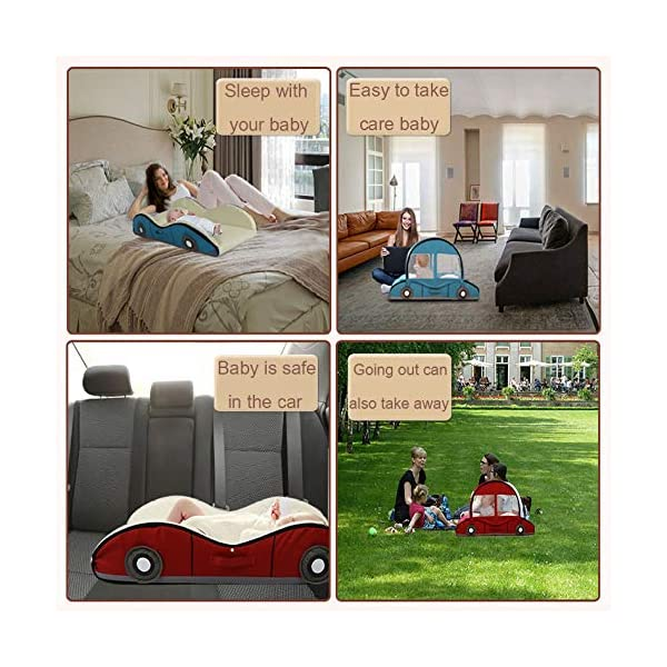 YANGGUANGBAOBEI Car Travel Crib,Breathable And Hypoallergenic Sleep Nest Newborn Lounger Pillow - Infant Toddler Cradle Multifunction Storage Bag,Red YANGGUANGBAOBEI ❤ [Safety material]:Our baby Mosquito net tents bed use certified non-toxic,lead free, baby safe material.breathable translucent mesh keeps parent easy view of your baby while keeps the air flowing and your baby dry,It is better for 0 -18 month baby ❤ [Save space]: Pop Up Baby Tent can be folded up nice and tight, making it so easy to put inside your backpack and bring it along to wherever you and your baby go. Take it to the park, the beach, a soccer Game, or simply in the living room for day-to-day use ❤[ tent]:Self-expanding screen tent that can be popped open and folded back down in seconds, two way zipper enable quick and convenient access to your baby inside the tent. 4