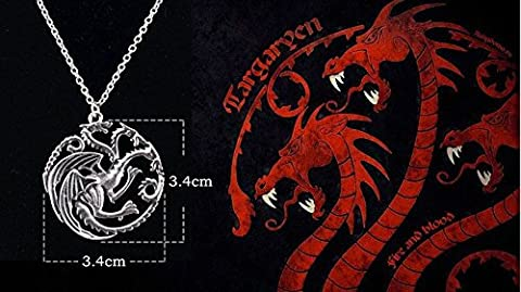 Buy any 2 & get 1 FREE! 3 Headed Dragon Pendant Necklace Targaryen Sigil Silver Game of Thrones GOT Dragon Steampunk Song Ice Fire Lapel And Metal Stark Silver Replica Unique Fashion Jewellery Silver or Gold Double Vintage Hot Fashion Trend (Targaryen 3 Headed Dragon Necklace) - Fossil Womens Metallo