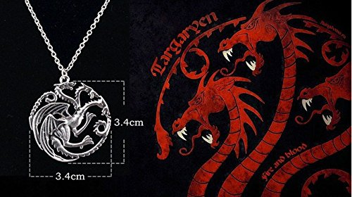 Kauf 2 und bekomme 1 gratis! Thick and heavy Targaryen 3 Headed Dragon Necklace, Chain is 50 cm long. The Dragon is 3.5cm (Kostüm Look Nerd)